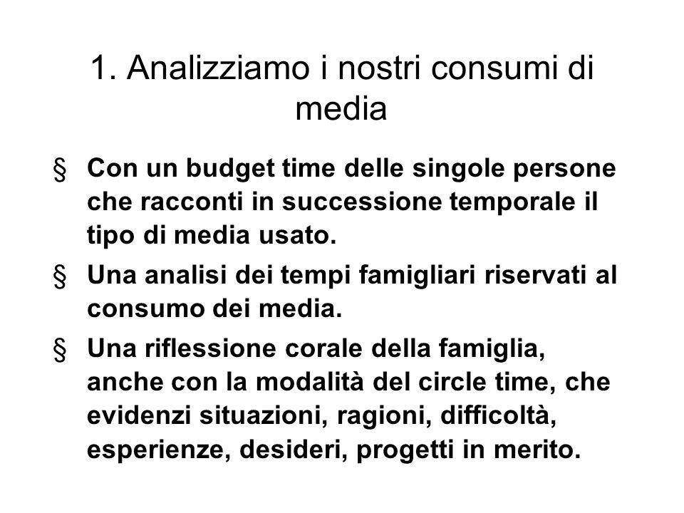 1. Analizziamo i nostri consumi di media §Con un budget time delle singole persone che racconti in successione temporale il tipo di media usato. §Una