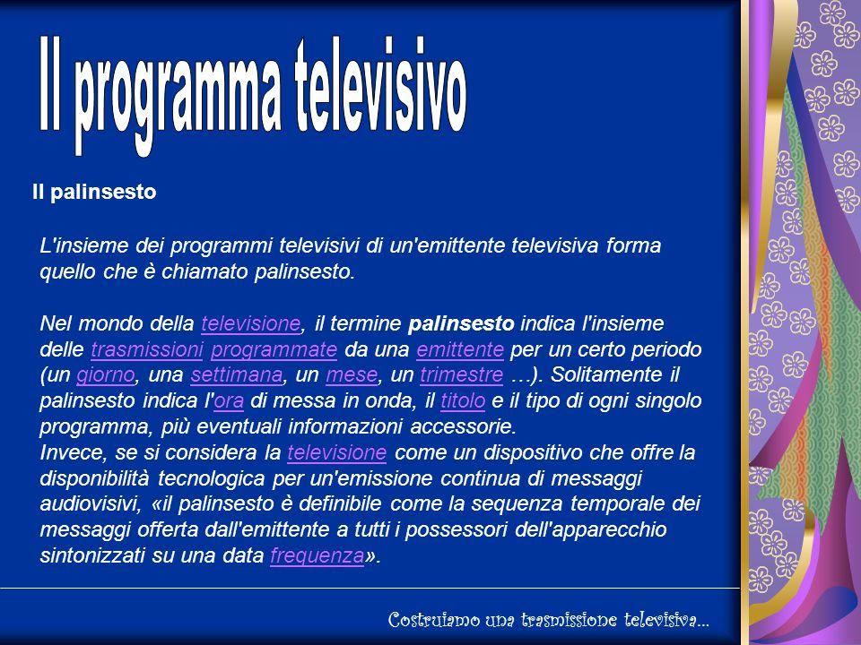 Costruiamo una trasmissione televisiva… Il palinsesto L insieme dei programmi televisivi di un emittente televisiva forma quello che è chiamato palinsesto.