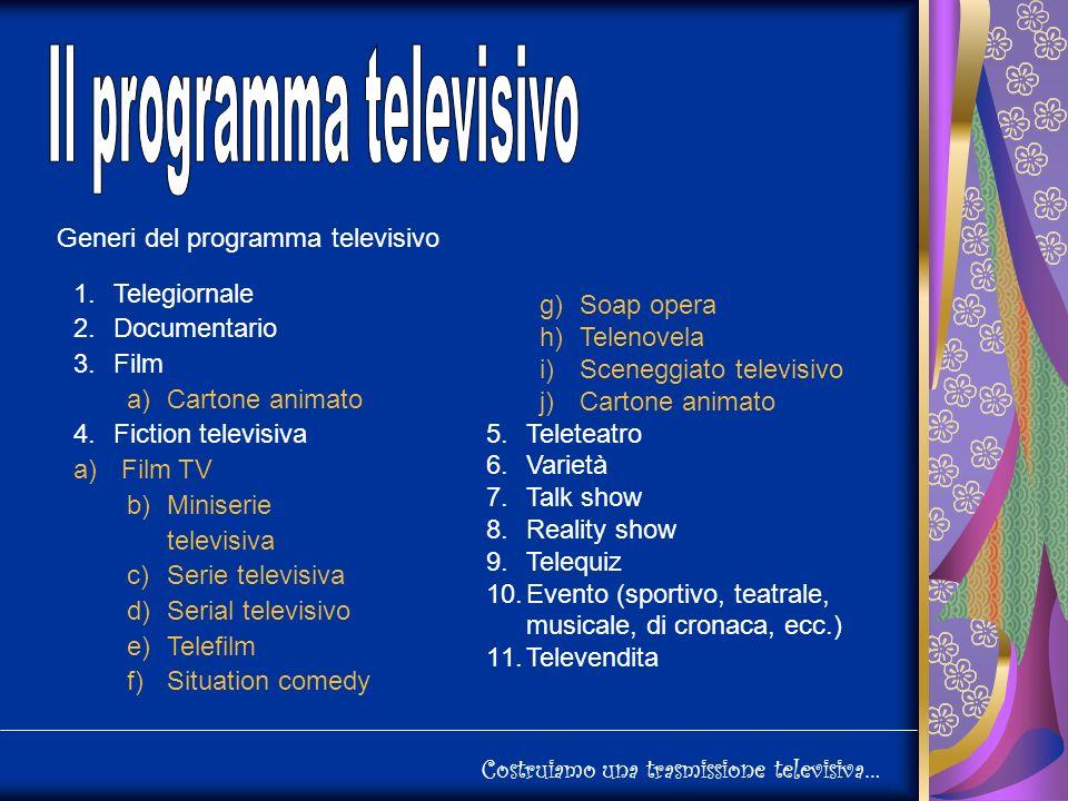 Costruiamo una trasmissione televisiva… Generi del programma televisivo 1.Telegiornale 2.Documentario 3.Film a)Cartone animato 4.Fiction televisiva a) Film TV b)Miniserie televisiva c)Serie televisiva d)Serial televisivo e)Telefilm f)Situation comedy g)Soap opera h)Telenovela i)Sceneggiato televisivo j)Cartone animato 5.Teleteatro 6.Varietà 7.Talk show 8.Reality show 9.Telequiz 10.Evento (sportivo, teatrale, musicale, di cronaca, ecc.) 11.Televendita