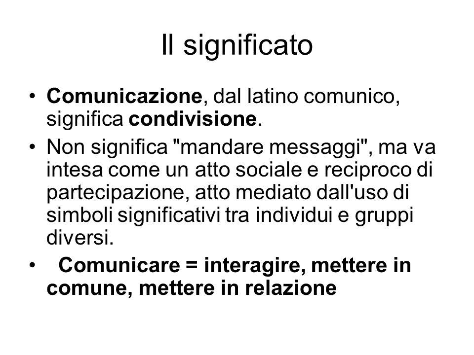 Il significato Comunicazione, dal latino comunico, significa condivisione. Non significa