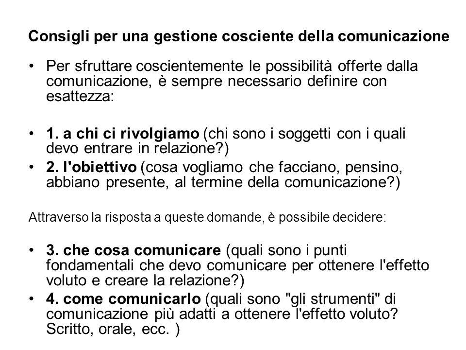 Consigli per una gestione cosciente della comunicazione Per sfruttare coscientemente le possibilità offerte dalla comunicazione, è sempre necessario d