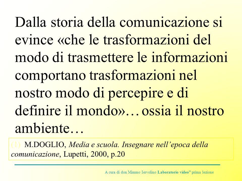 Dalla storia della comunicazione si evince «che le trasformazioni del modo di trasmettere le informazioni comportano trasformazioni nel nostro modo di percepire e di definire il mondo»… ossia il nostro ambiente… (1) M.DOGLIO, Media e scuola.