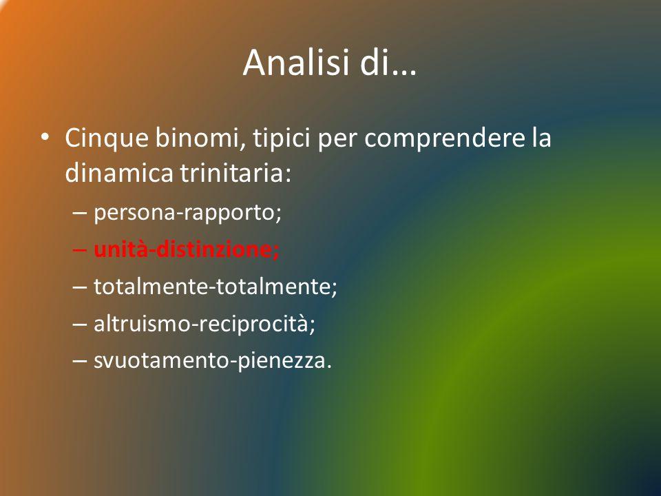 Analisi di… Cinque binomi, tipici per comprendere la dinamica trinitaria: – persona-rapporto; – unità-distinzione; – totalmente-totalmente; – altruismo-reciprocità; – svuotamento-pienezza.