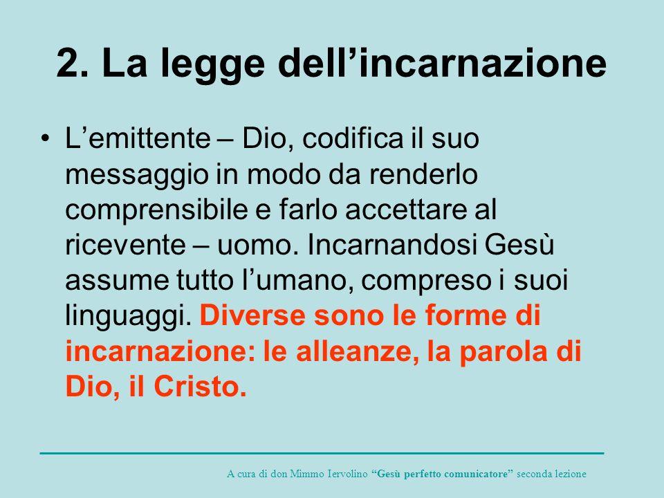 2. La legge dellincarnazione Lemittente – Dio, codifica il suo messaggio in modo da renderlo comprensibile e farlo accettare al ricevente – uomo. Inca