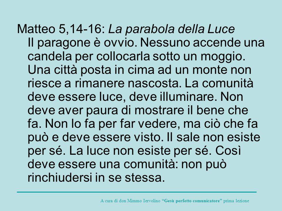Matteo 5,14-16: La parabola della Luce Il paragone è ovvio. Nessuno accende una candela per collocarla sotto un moggio. Una città posta in cima ad un