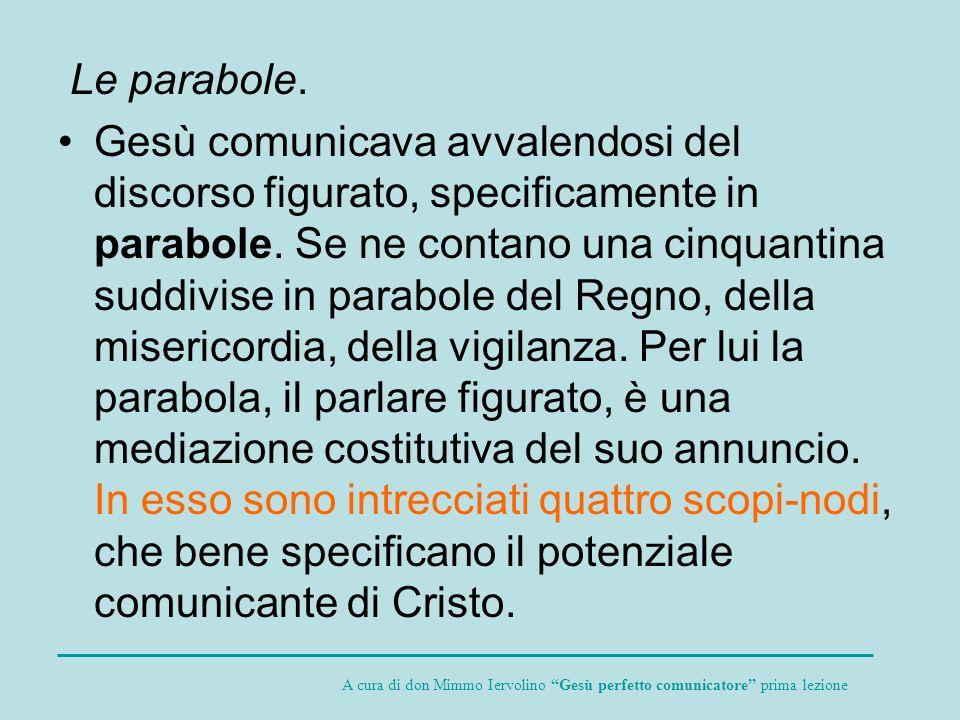 Le parabole. Gesù comunicava avvalendosi del discorso figurato, specificamente in parabole. Se ne contano una cinquantina suddivise in parabole del Re