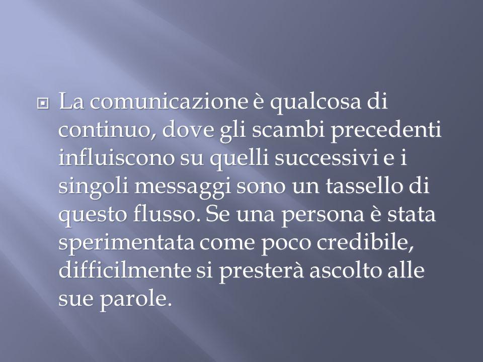 La comunicazione è qualcosa di continuo, dove gli scambi precedenti influiscono su quelli successivi e i singoli messaggi sono un tassello di questo flusso.