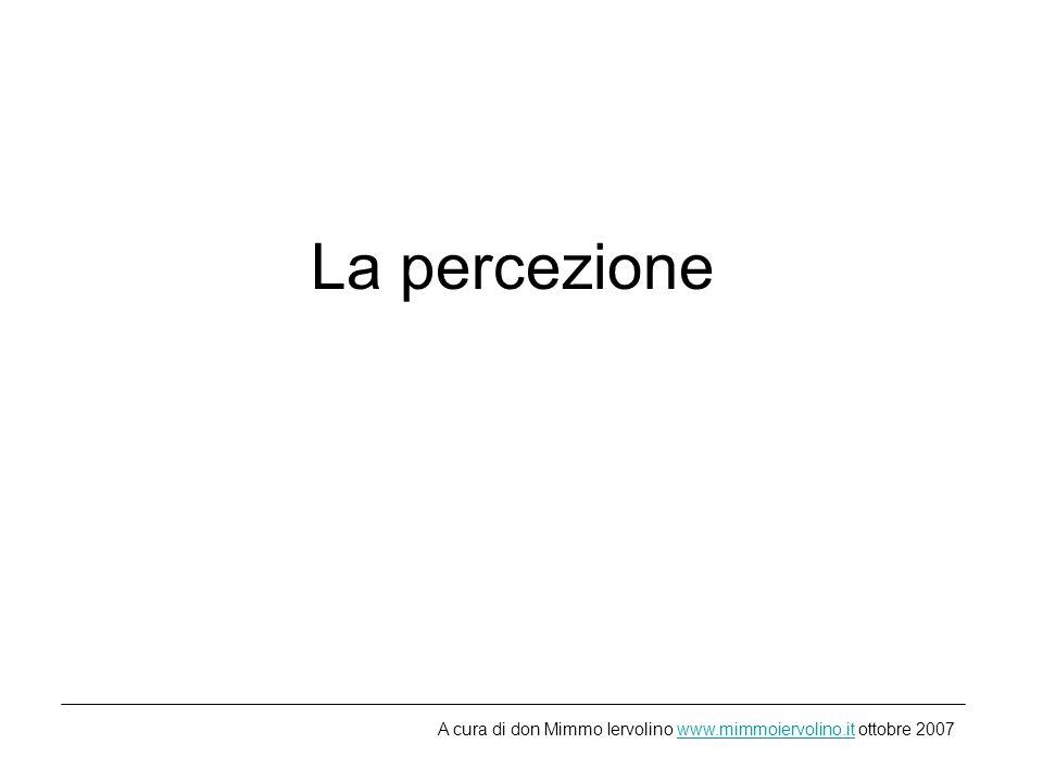 La percezione A cura di don Mimmo Iervolino www.mimmoiervolino.it ottobre 2007www.mimmoiervolino.it