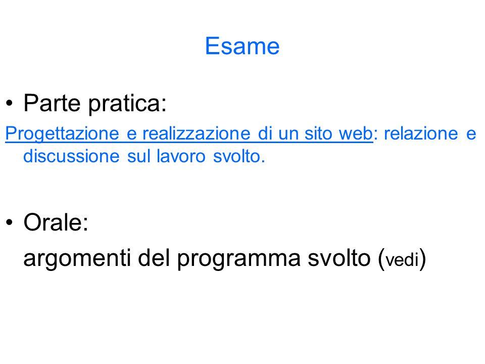 Esame Parte pratica: Progettazione e realizzazione di un sito web: relazione e discussione sul lavoro svolto. Orale: argomenti del programma svolto (