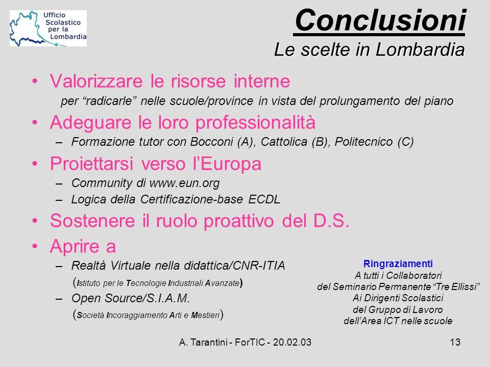 A. Tarantini - ForTIC - 20.02.0313 Valorizzare le risorse interne per radicarle nelle scuole/province in vista del prolungamento del piano Adeguare le