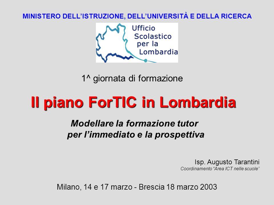 Il piano ForTIC in Lombardia MINISTERO DELLISTRUZIONE, DELLUNIVERSITÀ E DELLA RICERCA Modellare la formazione tutor per limmediato e la prospettiva Is