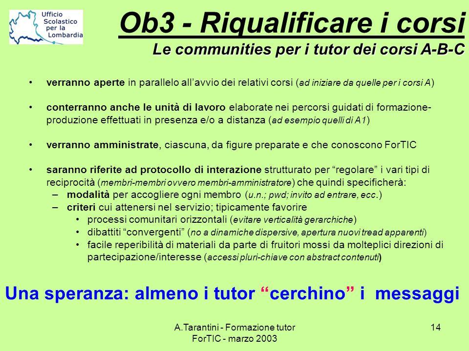 A.Tarantini - Formazione tutor ForTIC - marzo 2003 14 verranno aperte in parallelo allavvio dei relativi corsi ( ad iniziare da quelle per i corsi A )
