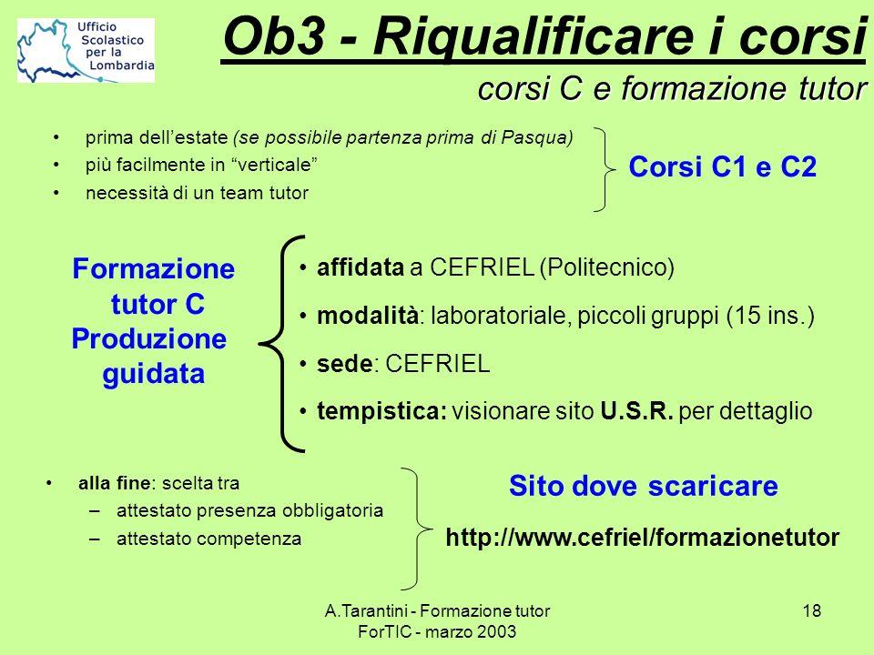A.Tarantini - Formazione tutor ForTIC - marzo 2003 18 corsi C e formazione tutor Ob3 - Riqualificare i corsi corsi C e formazione tutor alla fine: sce