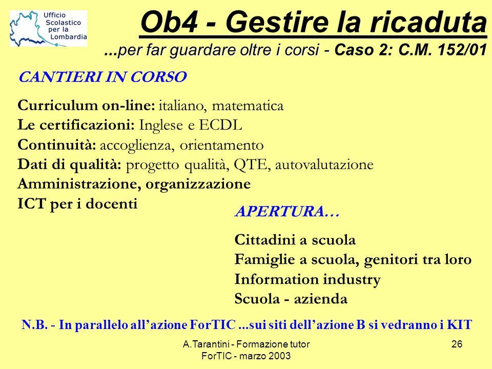 A.Tarantini - Formazione tutor ForTIC - marzo 2003 26 CANTIERI IN CORSO Curriculum on-line: italiano, matematica Le certificazioni: Inglese e ECDL Con