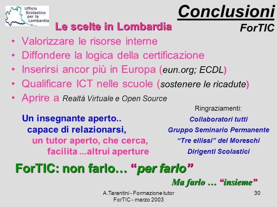 A.Tarantini - Formazione tutor ForTIC - marzo 2003 30 Valorizzare le risorse interne Diffondere la logica della certificazione Inserirsi ancor più in
