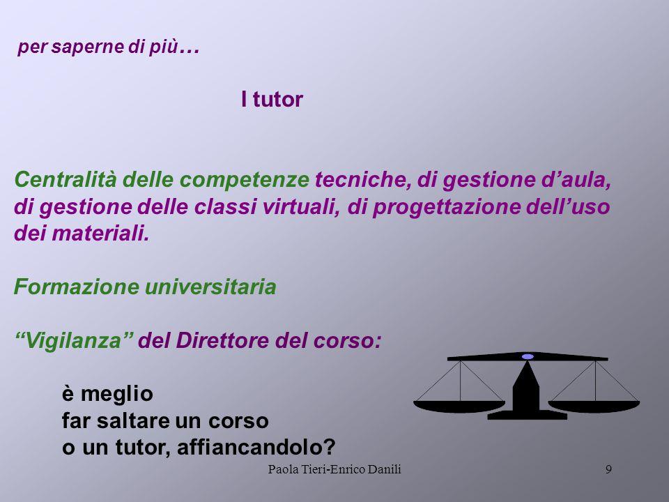 Paola Tieri-Enrico Danili9 per saperne di più … I tutor Centralità delle competenze tecniche, di gestione daula, di gestione delle classi virtuali, di progettazione delluso dei materiali.