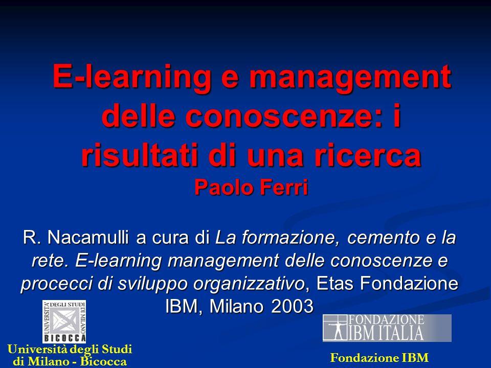 E-learning e management delle conoscenze: i risultati di una ricerca Paolo Ferri R. Nacamulli a cura di La formazione, cemento e la rete. E-learning m