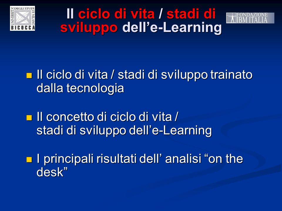 Il ciclo di vita / stadi di sviluppo delle-Learning Il ciclo di vita / stadi di sviluppo trainato dalla tecnologia Il ciclo di vita / stadi di svilupp
