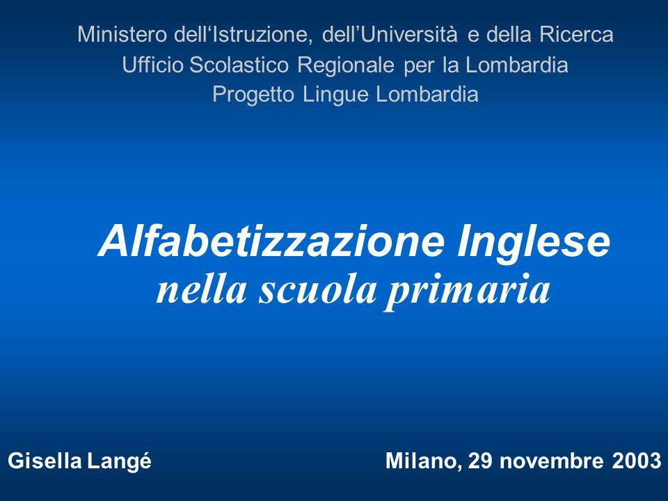 Alfabetizzazione Inglese nella scuola primaria Gisella Langé Milano, 29 novembre 2003 Ministero dellIstruzione, dellUniversità e della Ricerca Ufficio