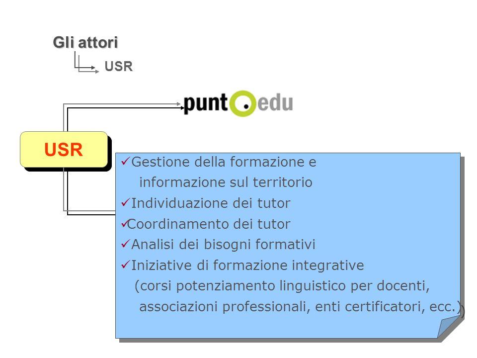 Gli attori USR Gestione della formazione e informazione sul territorio Individuazione dei tutor Coordinamento dei tutor Analisi dei bisogni formativi
