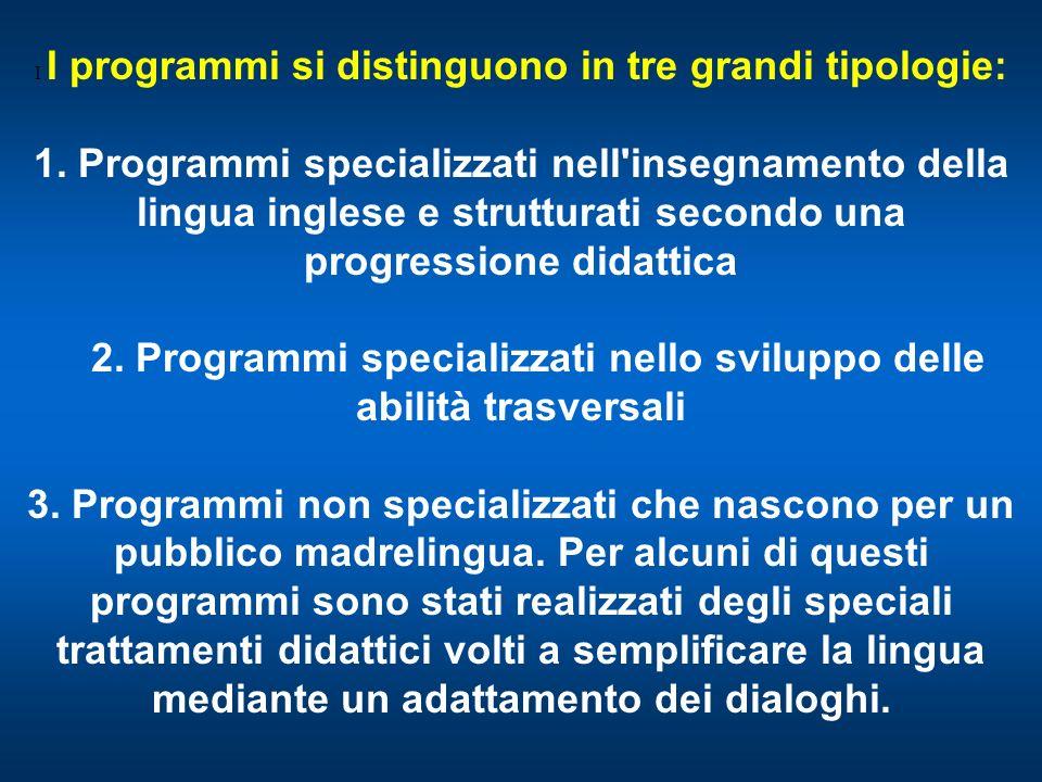 I I programmi si distinguono in tre grandi tipologie: 1. Programmi specializzati nell'insegnamento della lingua inglese e strutturati secondo una prog