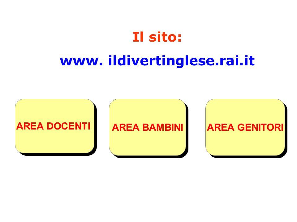 AREA BAMBINI AREA GENITORI AREA DOCENTI (scheda di rilevazione bisogni formativi) Il sito: www. ildivertinglese.rai.it