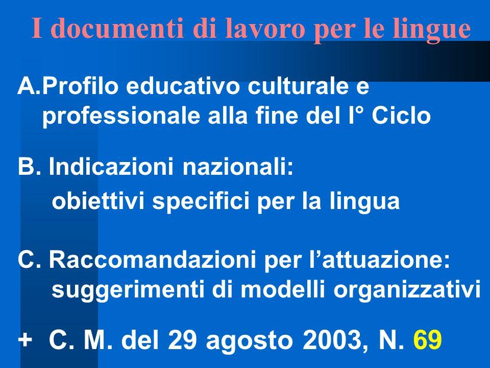 I documenti di lavoro per le lingue A.Profilo educativo culturale e professionale alla fine del I° Ciclo B. Indicazioni nazionali: obiettivi specifici