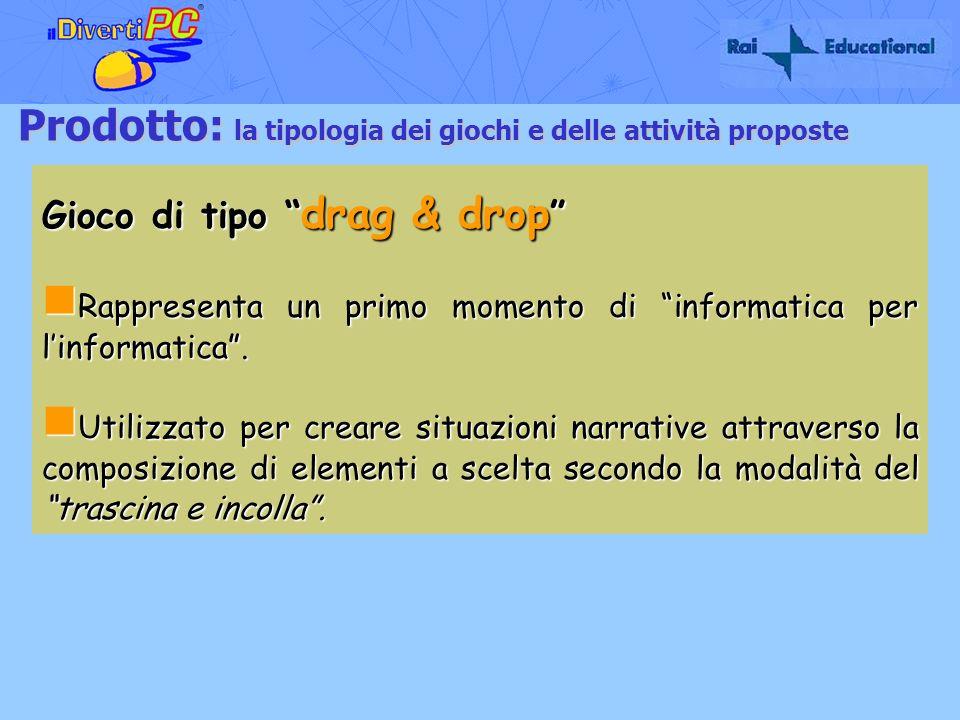 Prodotto: la tipologia dei giochi e delle attività proposte Gioco di tipo drag & drop Gioco di tipo drag & drop Rappresenta un primo momento di inform