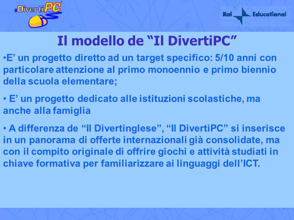 Il modello de Il DivertiPC E un progetto diretto ad un target specifico: 5/10 anni con particolare attenzione al primo monoennio e primo biennio della