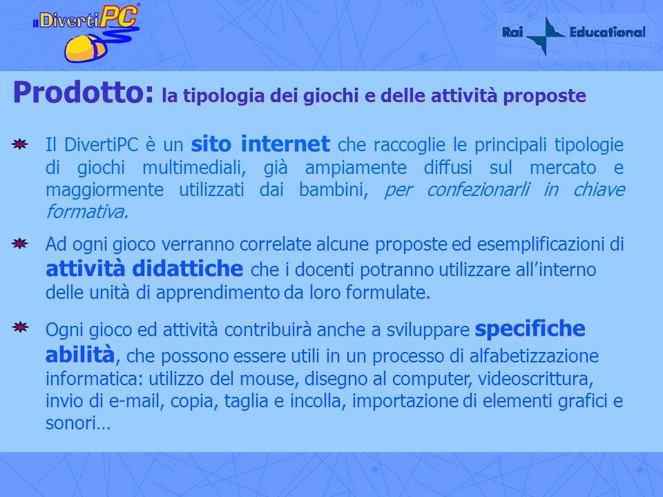 Prodotto: la tipologia dei giochi e delle attività proposte sito internet Il DivertiPC è un sito internet che raccoglie le principali tipologie di gio