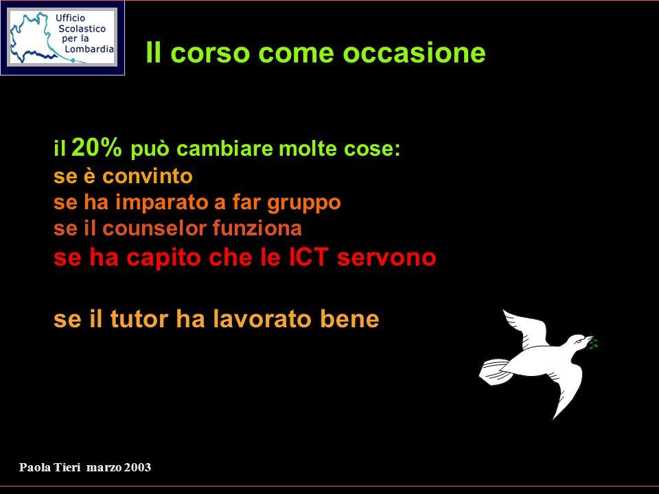 Paola Tieri marzo 2003 II corso come occasione il 20% può cambiare molte cose: se è convinto se ha imparato a far gruppo se il counselor funziona se ha capito che le ICT servono se il tutor ha lavorato bene