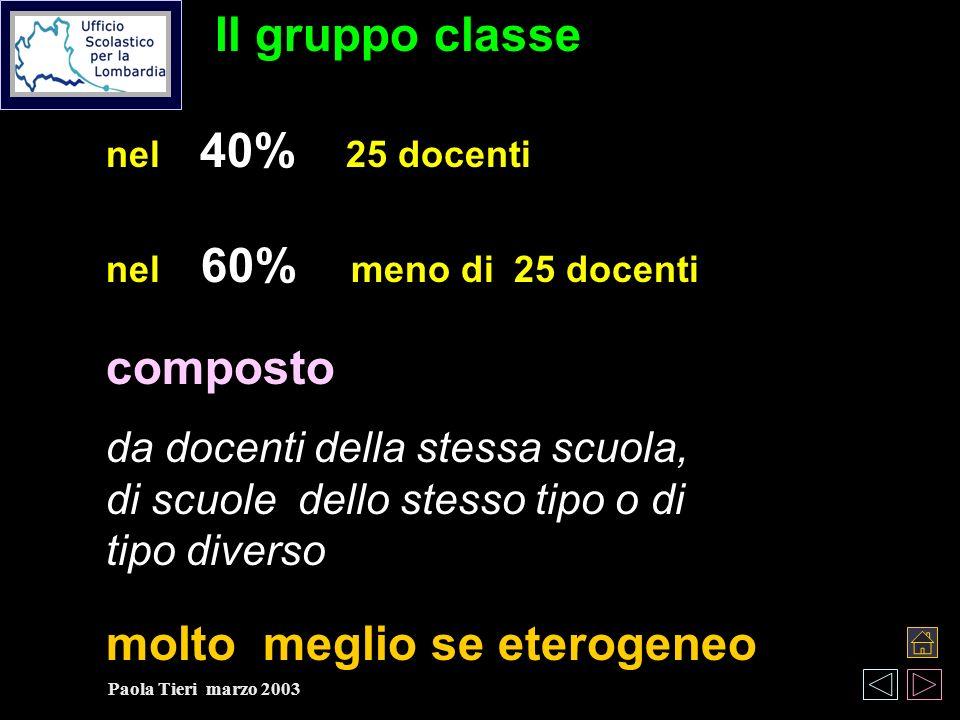 Il gruppo classe nel 40% 25 docenti nel 60% meno di 25 docenti composto da docenti della stessa scuola, di scuoledello stesso tipo o di tipo diverso molto meglio se eterogeneo Paola Tieri marzo 2003