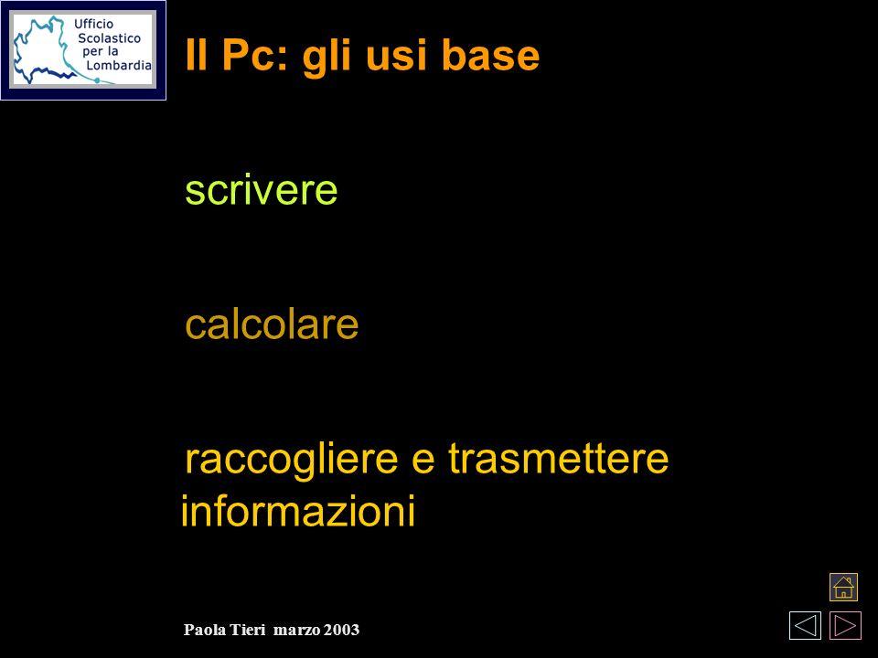 Il Pc: gli usi base scrivere calcolare raccogliere e trasmettere informazioni Paola Tieri marzo 2003