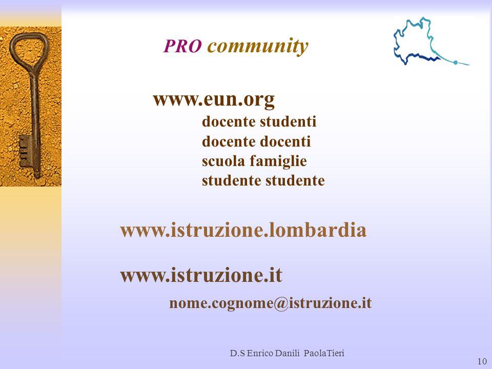 D.S Enrico Danili PaolaTieri 10 PRO community www.eun.org docente studenti docente docenti scuola famiglie studente www.istruzione.lombardia www.istru