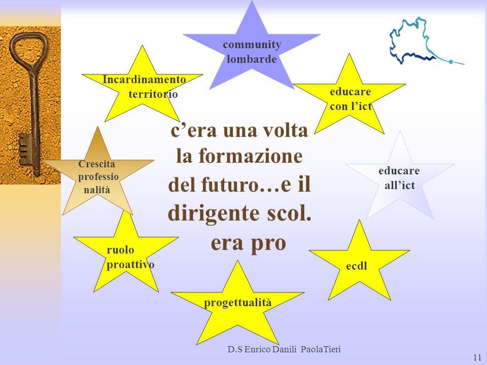 D.S Enrico Danili PaolaTieri 11 w community lombarde progettualità cera una volta la formazione del futuro… e il dirigente scol. era pro ecdl ruolo pr
