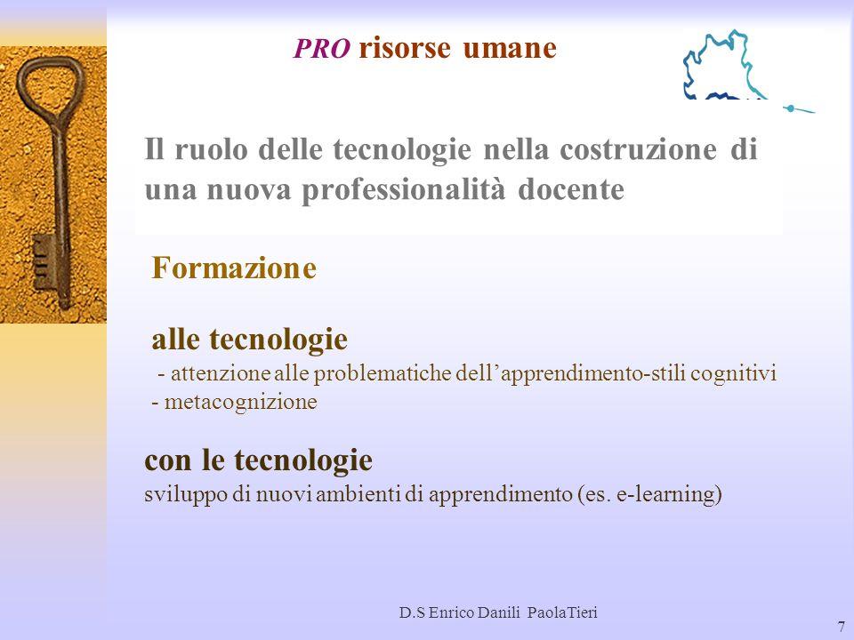 D.S Enrico Danili PaolaTieri 7 Il ruolo delle tecnologie nella costruzione di una nuova professionalità docente PRO risorse umane alle tecnologie - at
