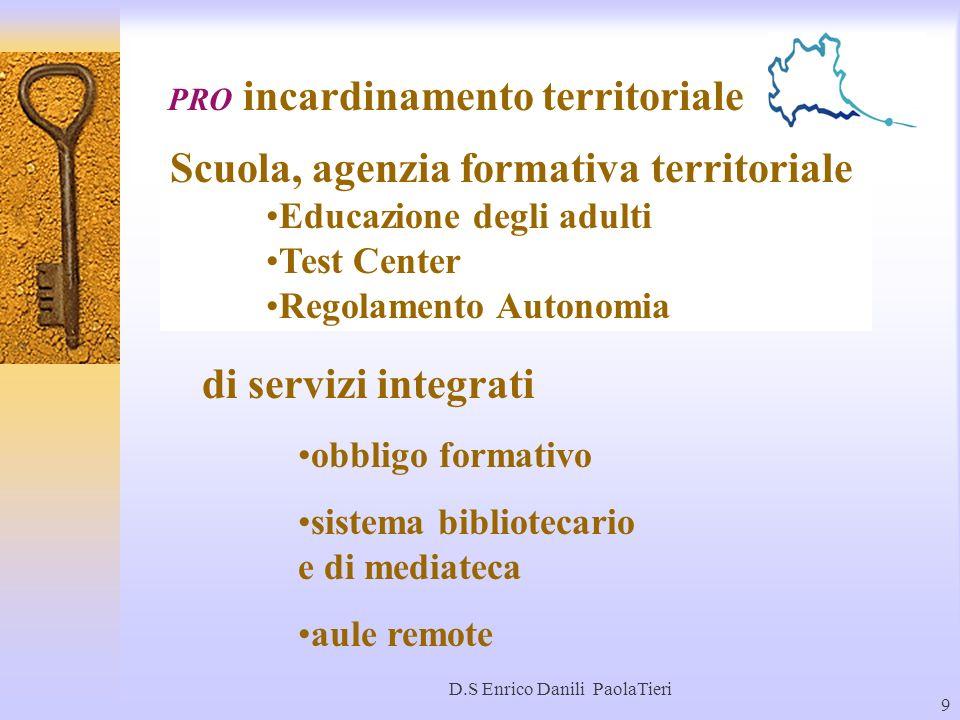 D.S Enrico Danili PaolaTieri 9 PRO incardinamento territoriale Scuola, agenzia formativa territoriale Educazione degli adulti Test Center Regolamento