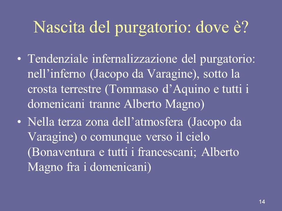14 Nascita del purgatorio: dove è? Tendenziale infernalizzazione del purgatorio: nellinferno (Jacopo da Varagine), sotto la crosta terrestre (Tommaso