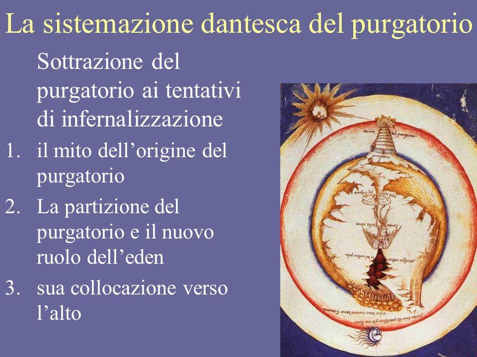17 La sistemazione dantesca del purgatorio Sottrazione del purgatorio ai tentativi di infernalizzazione 1.il mito dellorigine del purgatorio 2.La part