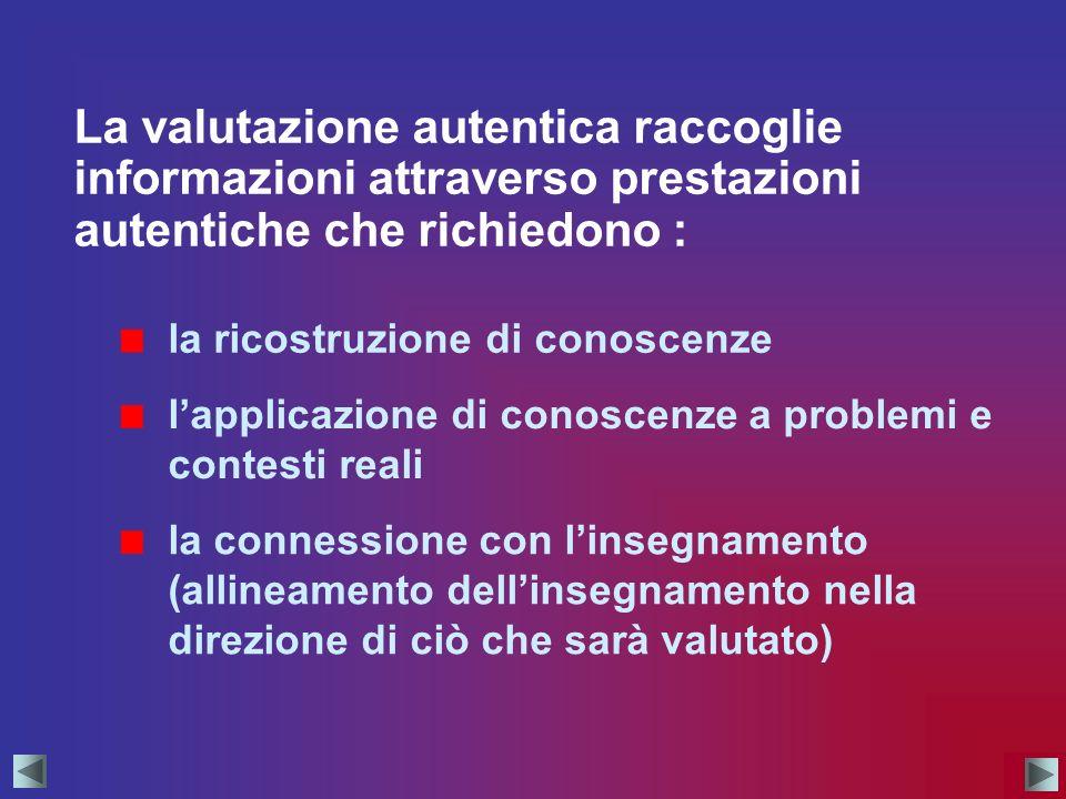 La valutazione autentica raccoglie informazioni attraverso prestazioni autentiche che richiedono : lapplicazione di conoscenze a problemi e contesti r