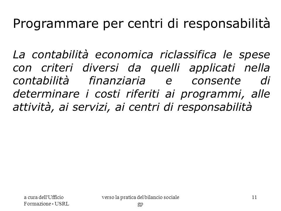 a cura dell'Ufficio Formazione - USRL verso la pratica del bilancio sociale gp 11 Programmare per centri di responsabilità La contabilità economica ri