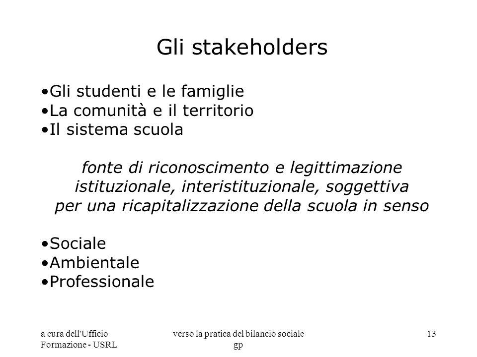 a cura dell'Ufficio Formazione - USRL verso la pratica del bilancio sociale gp 13 Gli stakeholders Gli studenti e le famiglie La comunità e il territo