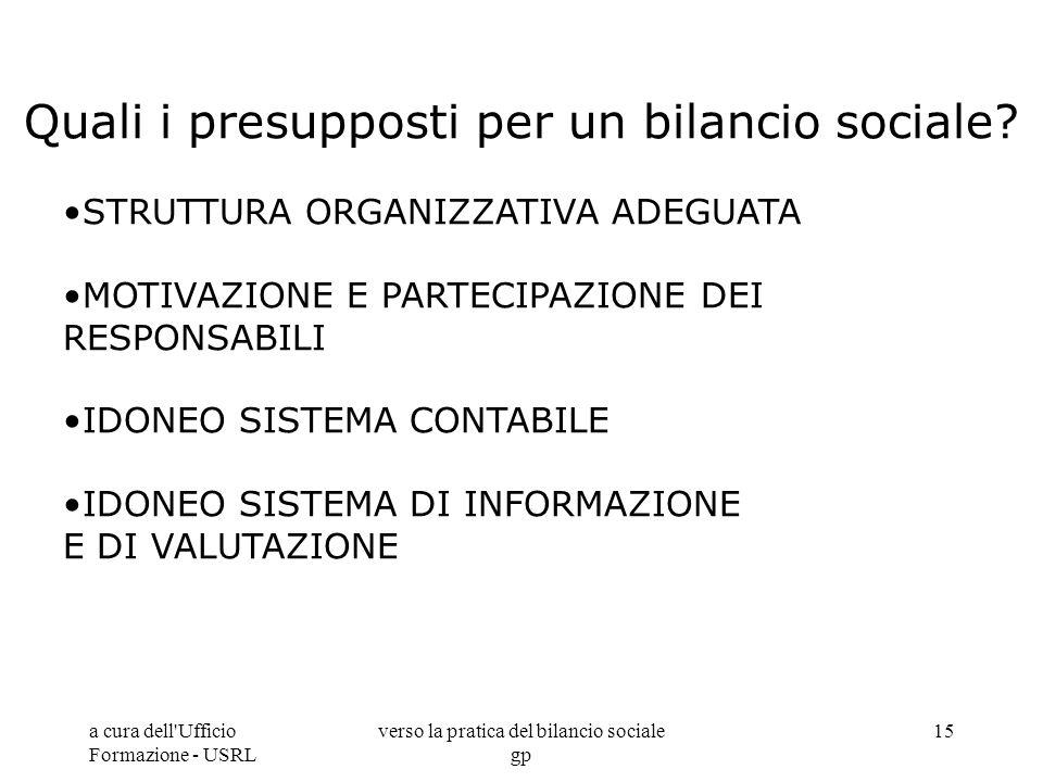 a cura dell'Ufficio Formazione - USRL verso la pratica del bilancio sociale gp 15 Quali i presupposti per un bilancio sociale? STRUTTURA ORGANIZZATIVA