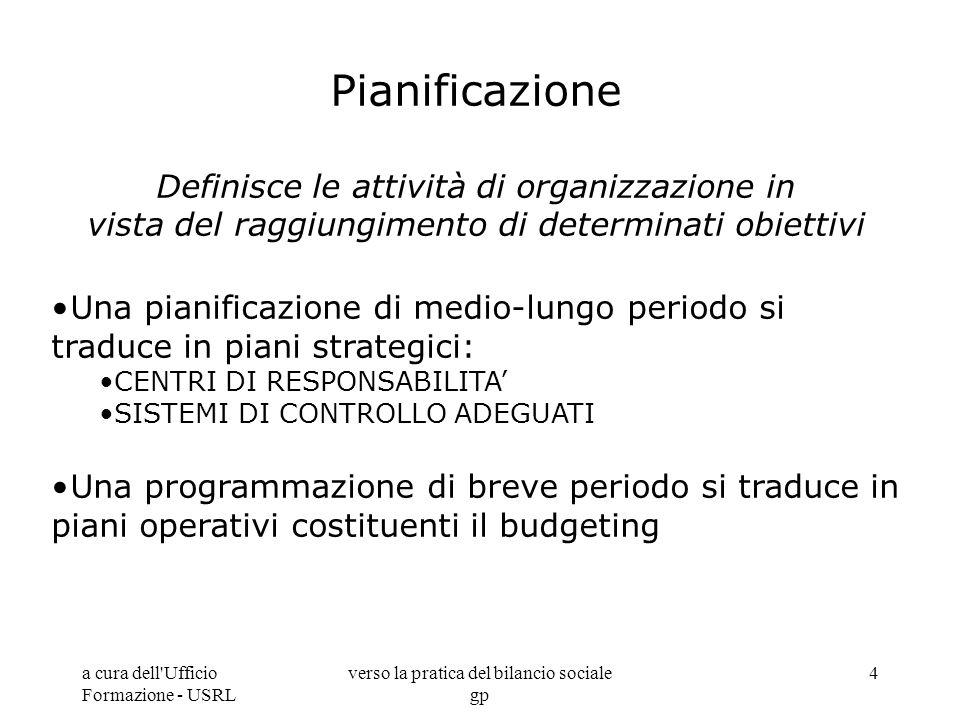 a cura dell'Ufficio Formazione - USRL verso la pratica del bilancio sociale gp 4 Pianificazione Definisce le attività di organizzazione in vista del r