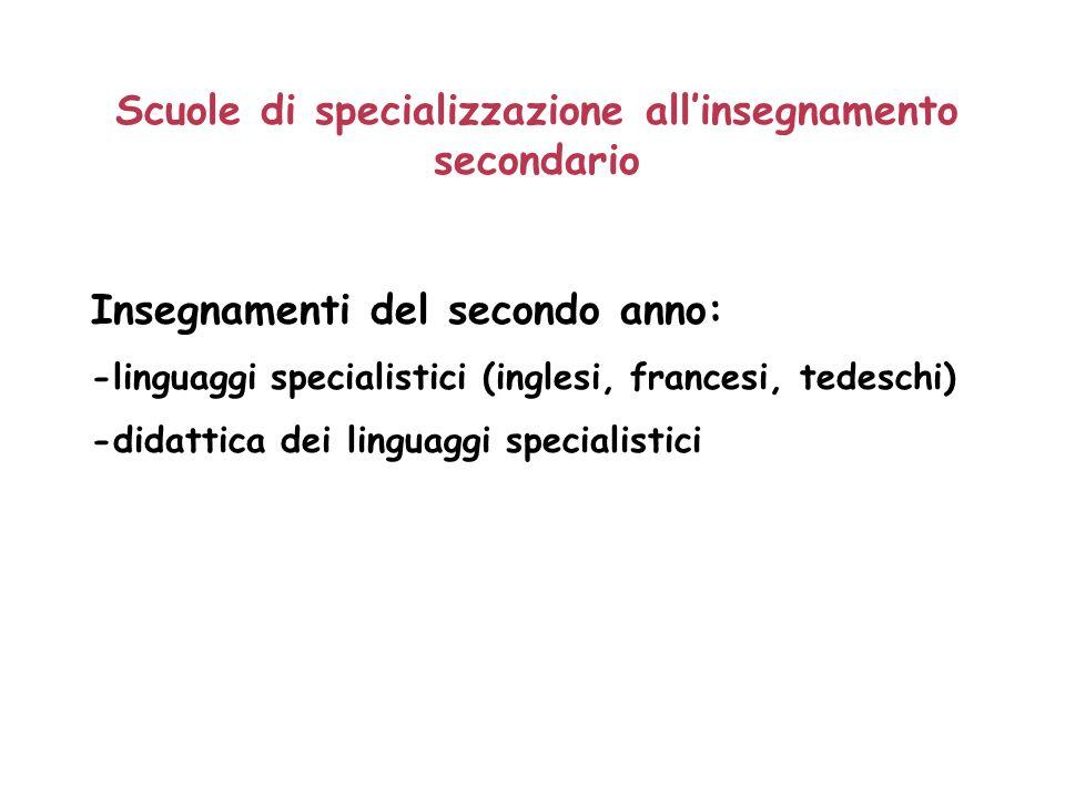 Scuole di specializzazione allinsegnamento secondario Insegnamenti del secondo anno: -linguaggi specialistici (inglesi, francesi, tedeschi) -didattica dei linguaggi specialistici