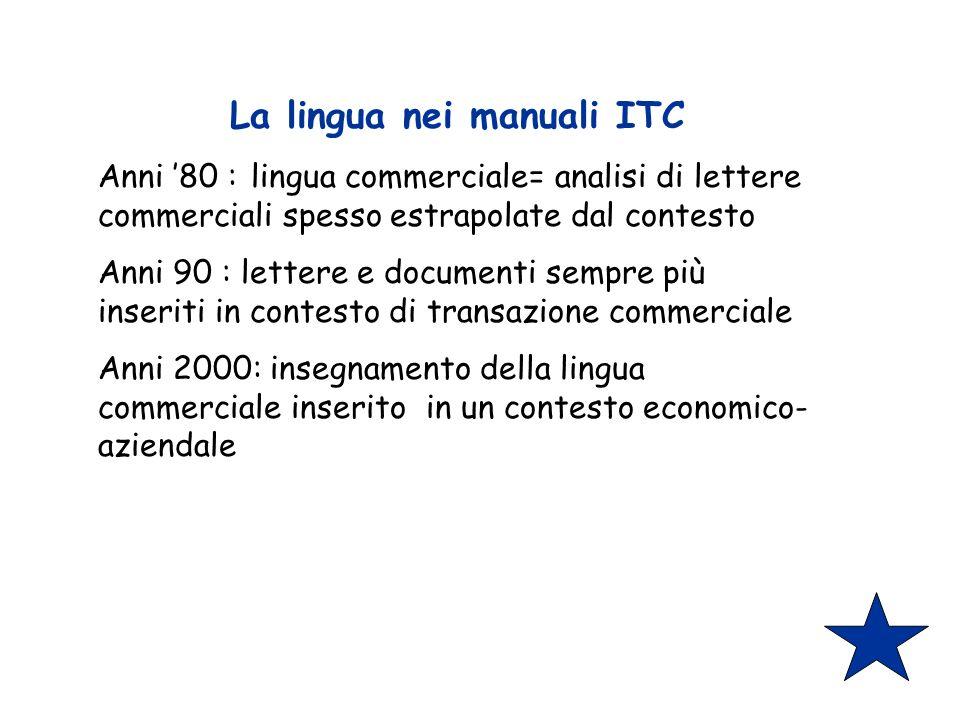 La lingua nei manuali ITC Anni 80 : lingua commerciale= analisi di lettere commerciali spesso estrapolate dal contesto Anni 90 : lettere e documenti sempre più inseriti in contesto di transazione commerciale Anni 2000: insegnamento della lingua commerciale inserito in un contesto economico- aziendale