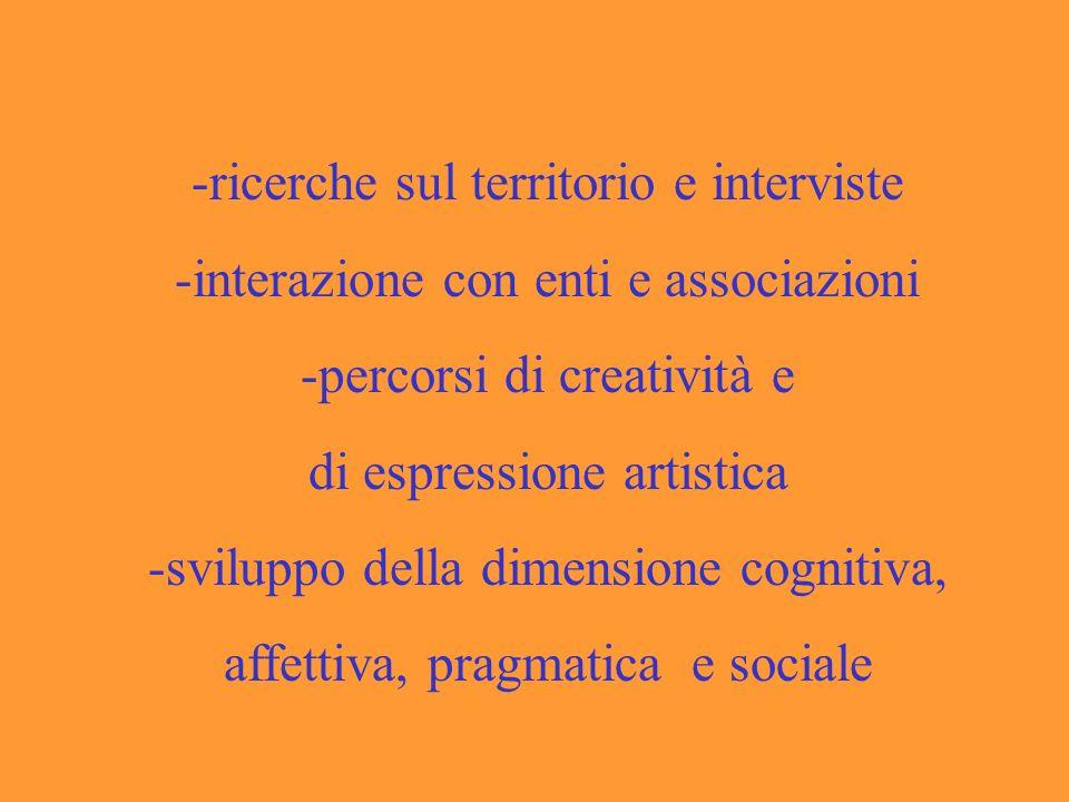 -ricerche sul territorio e interviste -interazione con enti e associazioni -percorsi di creatività e di espressione artistica -sviluppo della dimensione cognitiva, affettiva, pragmatica e sociale
