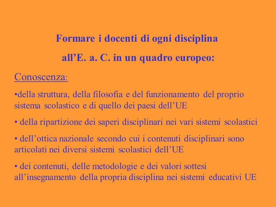 Formare i docenti di ogni disciplina allE.a. C.