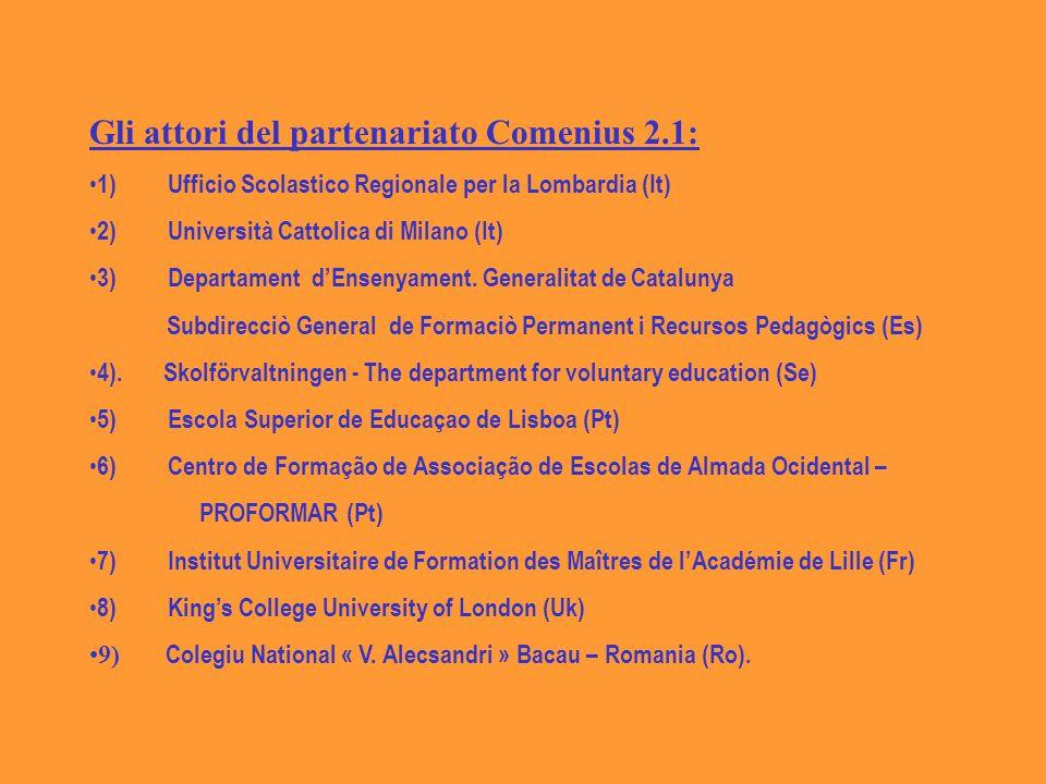 Gli attori del partenariato Comenius 2.1: 1) Ufficio Scolastico Regionale per la Lombardia (It) 2) Università Cattolica di Milano (It) 3) Departament dEnsenyament.