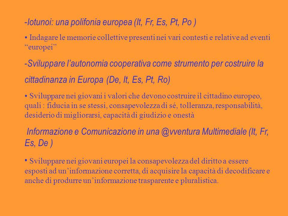 - Iotunoi: una polifonia europea (It, Fr, Es, Pt, Po ) Indagare le memorie collettive presenti nei vari contesti e relative ad eventi europei - Sviluppare lautonomia cooperativa come strumento per costruire la cittadinanza in Europa (De, It, Es, Pt, Ro) Sviluppare nei giovani i valori che devono costruire il cittadino europeo, quali : fiducia in se stessi, consapevolezza di sé, tolleranza, responsabilità, desiderio di migliorarsi, capacità di giudizio e onestà Informazione e Comunicazione in una @vventura Multimediale (It, Fr, Es, De ) Sviluppare nei giovani europei la consapevolezza del diritto a essere esposti ad uninformazione corretta, di acquisire la capacità di decodificare e anche di produrre uninformazione trasparente e pluralistica.